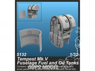 Cmk kit d'amélioration 5132 Réservoirs de carburant et d'huile pour fuselage Tempest Mk.V pour kit Special Hobby 1/32