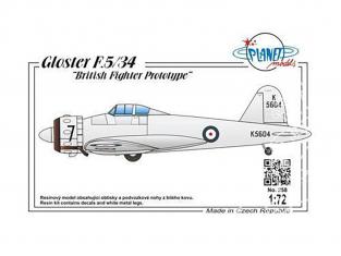 Planet Model PLT258 Prototype de chasseur britannique Gloster F.5 / 34 full resine kit 1/72