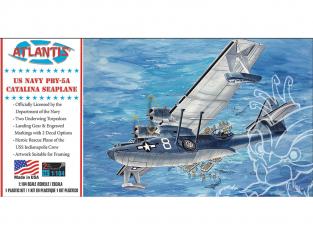 Atlantis maquette avion A5301 PBY-5A Catalina US Navy Seaplane 1/104
