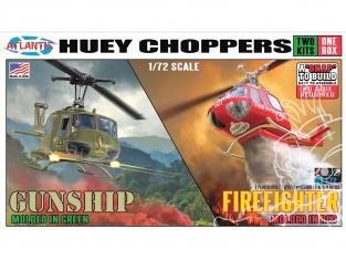 Atlantis maquette helicoptére m1026 Huey Chopper Pack de 2 Pompier et Vietnam Gunship Snap 1/72