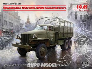 Icm maquette militaire 35510 Studebaker US6 avec conducteur soviétiques de la Seconde Guerre mondiale 1/35