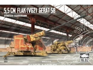 16.02 maquette militaire VK35001 5,5cm Flak (VG2) GERÄT 58 1/35