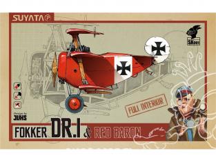 Suyata maquette cartoon SK001 Fokker Dr.I Intérieur complet & Baron rouge