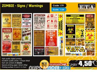 ETA diorama 179 Zombie signes d'avertissement 1/24