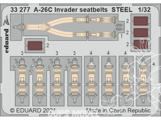 Eduard photodécoupe avion 33277 Harnais métal A-26C Invader Hobby Boss 1/32