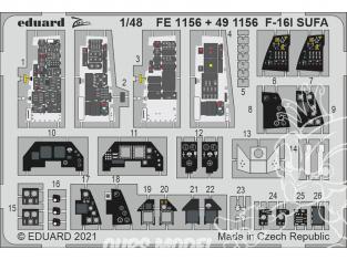 EDUARD photodecoupe avion FE1156 Zoom amélioration F-16I SUFA Kinetic 1/48