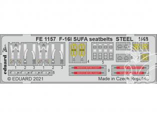 EDUARD photodecoupe avion FE1157 Harnais métal F-16I SUFA Kinetic 1/48
