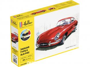 Heller maquette voiture 56709 JAGUAR TYPE E 3L8 FHC inclus peintures principale colle et pinceau 1/24
