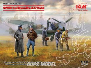 Icm maquette avion DS4801 Messerschmitt Bf 109F-4 Hs 126 B-1 pilotes et personnel au sol de la Luftwaffe allemande 1/48