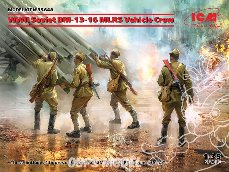 Icm maquette figurines 35648 Équipage de véhicule soviétique BM-13-16 MLRS de la Seconde Guerre mondiale 1/35