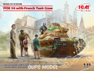 Icm maquette militaire 35338 FCM 36 avec équipage de char français 1/35