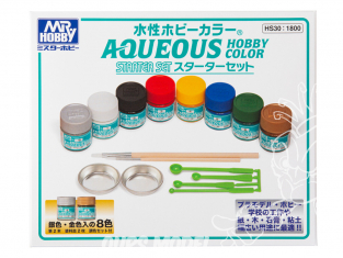 peinture Mr Hobby HS30 Set Mr Hobby Aquaeous hobby color 8 x 10ml + Accessoires