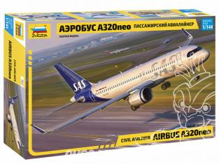 Zvezda maquette avion 7037 Avion de ligne Airbus A320neo 1/144