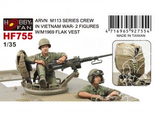 Hobby Fan kit personnages HF755 2 personnages pour M113 de l'armée Vietnam du Sud avec gilet anti-fragmentation M1969 1/35