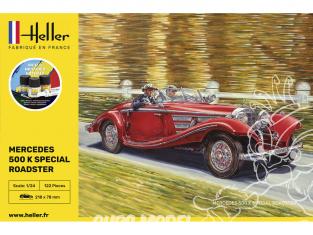 Heller maquette voiture 56710 STARTER KIT 500 K Special Roadster inclus peintures principale colle et pinceau 1/24