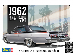 Revell US maquette voiture 4466 '62 Chevy Impala SS Hardtop 3'N1 1/25