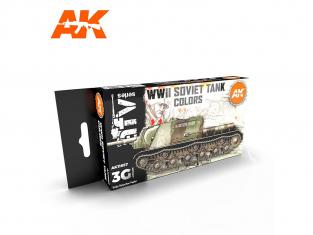 Ak interactive peinture acrylique 3G Set AK11657 COULEURS DE CHAR SOVIÉTIQUE DE LA SECONDE GUERRE MONDIALE 6 x 17ml