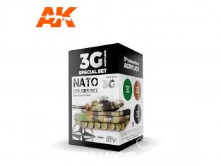Ak interactive peinture acrylique 3G Set AK11658 JEU DE COULEURS OTAN 3 x 17ml