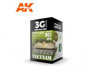 Ak interactive peinture acrylique 3G Set AK11659 COULEURS CAMOUFLAGE VIETNAM POUR COULEURS JUNGLE 3 x 17ml