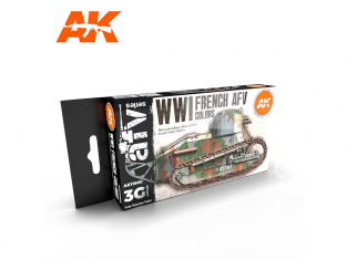 Ak interactive peinture acrylique 3G Set AK11660 COULEURS AFV FRANÇAIS DE LA PREMIÈRE GUERRE MONDIALE 6 x 17ml