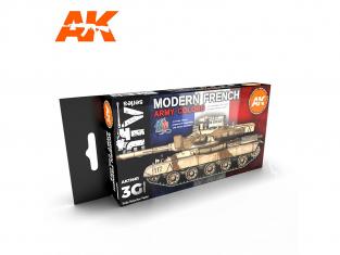Ak interactive peinture acrylique 3G Set AK11661 COULEURS MODERNES DE L'ARMÉE FRANÇAISE 6 x 17ml