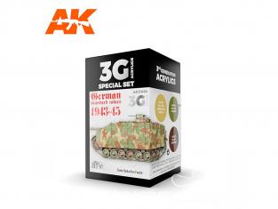 Ak interactive peinture acrylique 3G Set AK11664 COULEURS STANDARD ALLEMANDES 1943-45 3 x 17ml