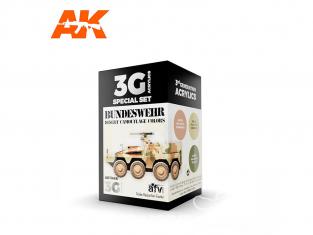 Ak interactive peinture acrylique 3G Set AK11666 COULEURS DU CAMOUFLAGE BUNDESWEHR DESERT 3 x 17ml