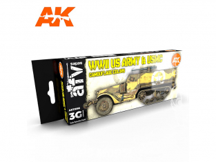 Ak interactive peinture acrylique 3G Set AK11668 COULEURS DE CAMOUFLAGE DE L'ARMÉE AMÉRICAINE ET DE L'USMC WWII 8 x 17ml