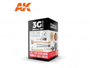 Ak interactive peinture acrylique 3G Set AK11670 COULEURS OUTILS STANDARD TOUTE EPOQUE 3 x 17ml