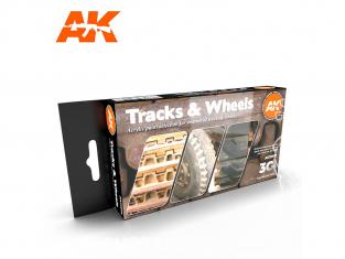 Ak interactive peinture acrylique 3G Set AK11672 COULEURS CHENILLES ET ROUES 6 x 17ml