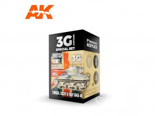 Ak interactive peinture acrylique 3G Set AK11677 COULEURS DE L'ARMÉE BRITANNIQUE: TUNISIE, SICILE ET ITALIE 1943-45 3 x 17ml