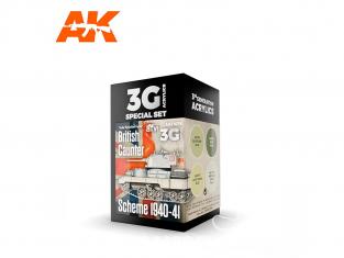 Ak interactive peinture acrylique 3G Set AK11676 COULEURS POUR SCHÉMA BRITANNIQUE CAUNTER 1940-41 4 x 17ml