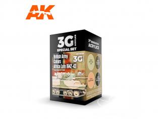 Ak interactive peinture acrylique 3G Set AK11678 COULEURS DE L'ARMÉE BRITANNIQUE AFRIQUE FIN 1942-43 4 x 17ml