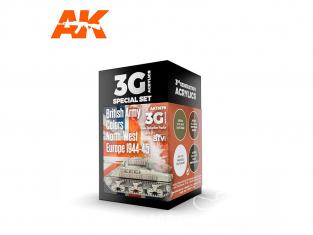 Ak interactive peinture acrylique 3G Set AK11679 COULEURS DE L'ARMÉE BRITANNIQUE EUROPE DU NORD-OUEST 1944-45 4 x 17ml