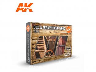 Ak interactive peinture acrylique 3G Set AK11673 Bois ancien et patiné Vol. 1 Couleurs chaudes 6 x 17ml 6 x 17ml