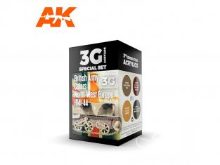 Ak interactive peinture acrylique 3G Set AK11680 COULEURS DE L'ARMÉE BRITANNIQUE EUROPE DU NORD-OUEST 1941-44 4 x 17ml