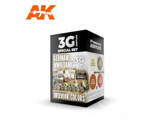 Ak interactive peinture acrylique 3G Set AK11688 COULEURS INTÉRIEURES DU CHAR ALLEMAND WWII 4 x 17ml