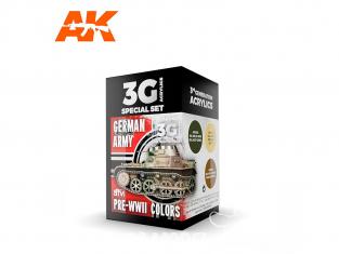 Ak interactive peinture acrylique 3G Set AK11687 COULEURS DE L'ARMÉE ALLEMANDE AVANT LA SECONDE GUERRE MONDIALE 3 x 17ml