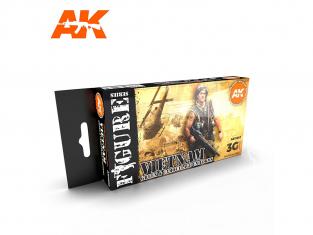 Ak interactive peinture acrylique 3G Set AK11682 UNIFORMES VIETNAM VERT ET CAMOUFLAGE 6 x 17ml