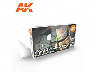 Ak interactive peinture acrylique 3G Set AK11683 INTÉRIEURS DE VÉHICULE NOIR ET BLANC CRÈME 6 x 17ml