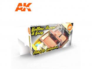 Ak interactive peinture acrylique 3G Set AK11684 INTÉRIEURS DE VÉHICULE JAUNE, MARRON ET GRIS 6 x 17ml