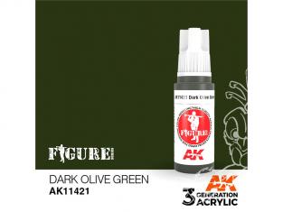 Ak interactive peinture acrylique 3G AK11421 VERT OLIVE FONCÉ 17ml FIGURINE