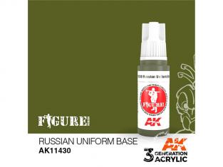 Ak interactive peinture acrylique 3G AK11430 BASE UNIFORME RUSSE VERT 17ml FIGURINE