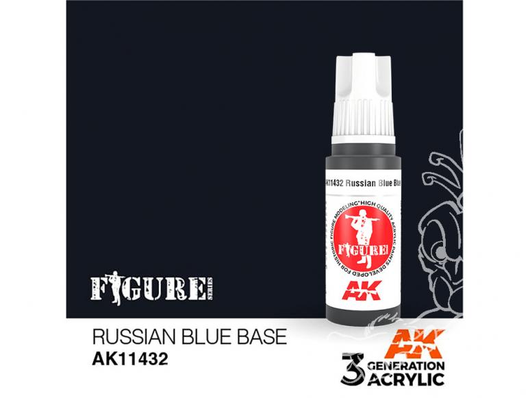 Ak interactive peinture acrylique 3G AK114232 BASE BLEUE RUSSE 17ml FIGURINE