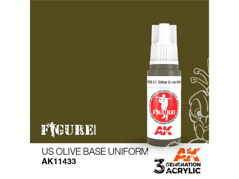 Ak interactive peinture acrylique 3G AK114233 BASE UNIFORME OLIVE US 17ml FIGURINE