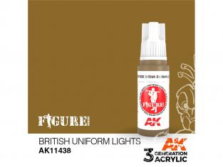 Ak interactive peinture acrylique 3G AK11438 BASE UNIFORME CLAIR BRITANNIQUE 17ml FIGURINE