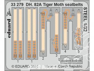 Eduard photodécoupe avion 33279 Harnais métal DH. 82A Tiger Moth Icm 1/32