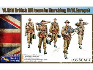 Gecko Models maquettes militaire 35GM0014 Team britannique MG en marche WWII 1/35