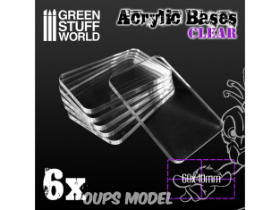 Green Stuff 503975 Socles Acryliques REGTANGLE 60x40mm Transparent