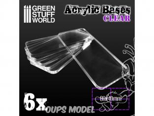 Green Stuff 503982 Socles Acryliques REGTANGLE 80x40mm Transparent